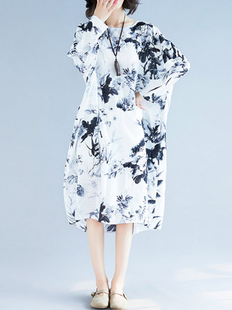 Plus Size Vintage Ink Painting Long Sleeve Loose Dress