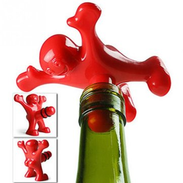 KCASA 2pcs Funny Happy Man Guy Wine Stopper Novelty Bar Tools Wine Cork Bottle Plug Wine Stopper Perky Interesting Gifts