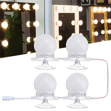 4Pcs Makeup Mirror Vanity LED Light Bulbs LED Gadgets Kit for Dressing Hollywood Super Star