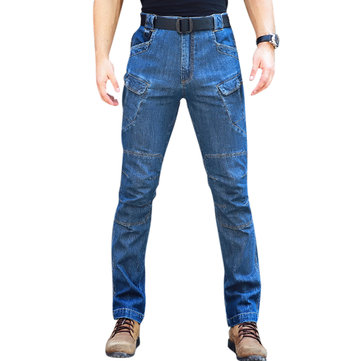 Mens Multi-pocket Denim Pants Tactical Outdoor Cargo Jeans
