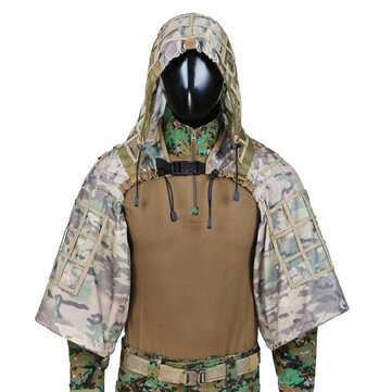 TTGTACTICAL GH28 CP Camouflage Military Sniper Ghillie Suit Foundation Outdoor Hunting Tactical Airsoft Sniper Ghillie Jacket