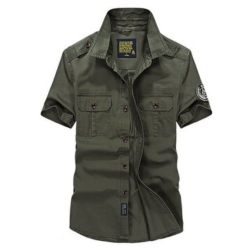 Mens Outdoor Casual Cotton Epaulet Short Sleeve Summer Cargo Shirts