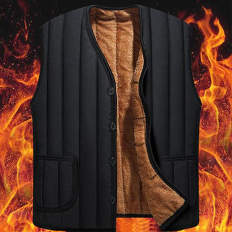 Mens Fleece Liner Thick Warm Fall Winter Vest Sleeveless Coat