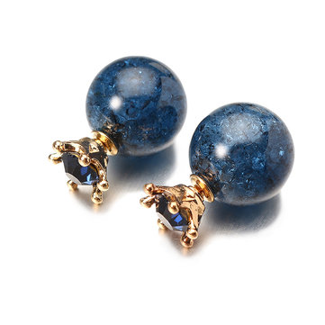 Trendy Crystal Blue Ball Crown Ear Stud Exquisite Best Gift Earrings Jewelry for Women
