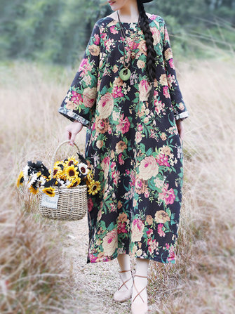 Plus Size Vintage Floral Print Long Sleeve Dress