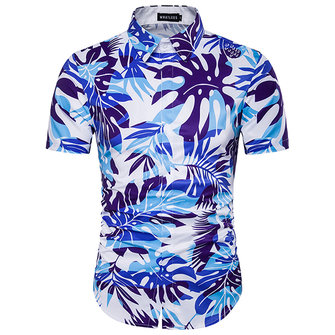 Mens Summer Beach Casual Shirts Turn-down Collar Palm Tree Printing Personality Hawaii Style