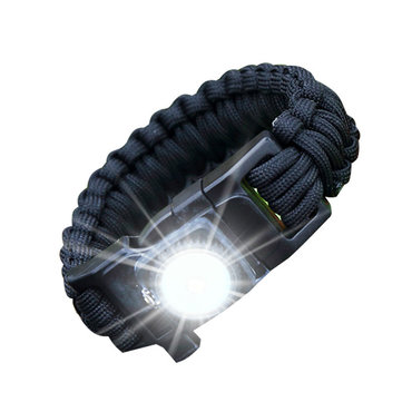 Outdoor EDC Survival Led Armband Paracord Gebreide polsband met Kompas Camping Wildness Tool