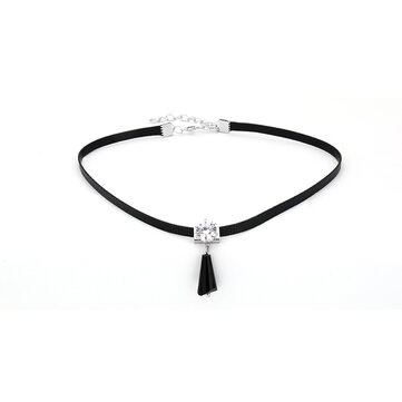 Punk Women Jewelry Tassel Pendant Shiny Rhinestone Black Choker Clavicle Necklace