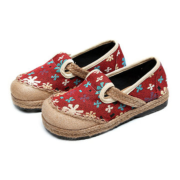 Women Flower Cotton Flax Slip On Breathable Casual Shoes