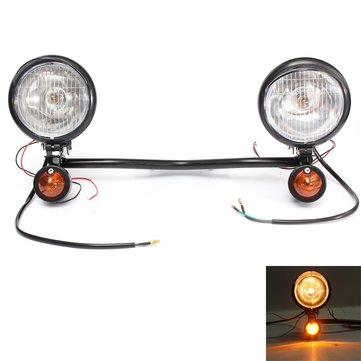 Motorcycle Spot Lightt Bar Set With Two Turn Signals For Harley Custom
