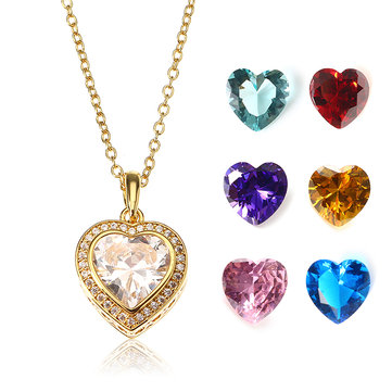 JASSY® Gold Plated Necklace with 7 Different Color Gemstone