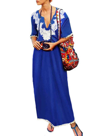 Women Short Sleeve Tassel Crochet Boho Loose Maxi Dress