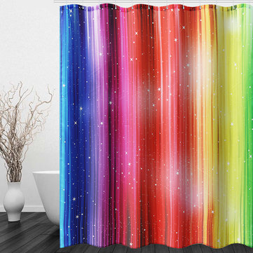 79''x71'' Rainbow Colorful Pattern Waterproof Polyester Shower Curtains with 12 Hooks