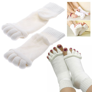 1 Pair Five Toe Separator Straightener Massage Socks Foot Alignment Pain Relief