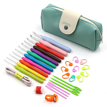30Pcs 2-8mm Crochet Hooks Yarn Knitting Needles Sewing Tools Kit with Comfort Rubber Grip