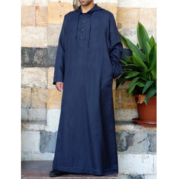 TWO-SIDED Mens Kaftan Vintage Loose Robe Hooded Long Dress Long Sleeve Long Tops Shirts