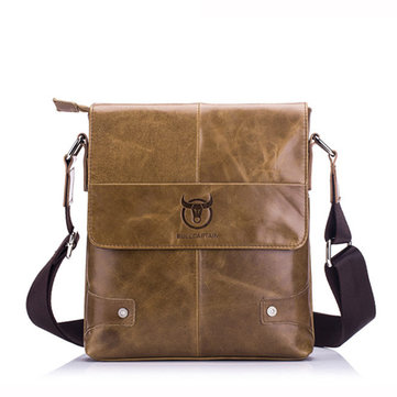 Men Retro Shoulder Bag Genuine Leather Briefcase Business Messenger Bag