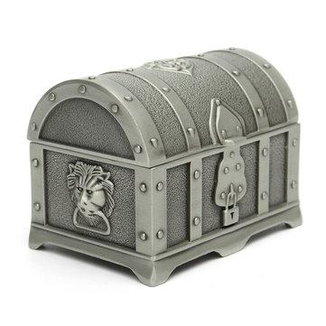 Tête de lion millésime argent boîte à bijoux au trésor cas recueillir récipient de stockage de support