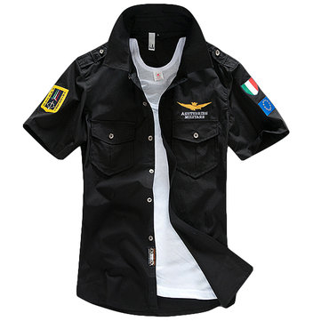 ASSTSERIES Embroidery Epaulets Military Style Chest Pockets Work Shirts for Men