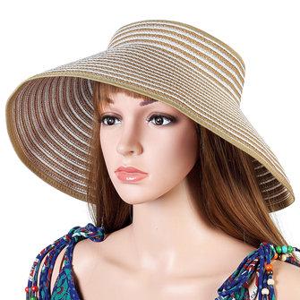 Women Summer Foldable Wide Brim Empty Cap Sun Straw Hat Outdoor Beach Travel Visor Cap