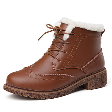 Leather Faux Fur Lining Lace Up Boots For Women