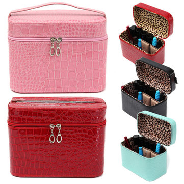Crocodile Pattern Makeup Bag Cosmetic Tool Case Beauty Nail Decoration Storage 4 Colors