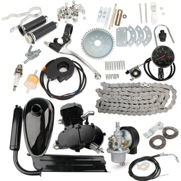 Upgraded 80cc 2 Stroke Motorized Bicycle Gas Engine Motor Kit with Speedometer Black