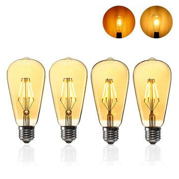 E27 ST64 4W ฝาครอบสีทองสามารถหรี่แสงได้ Edison Retro Vintage Filament COB LED โคมไฟหลอดไฟ AC110 / 220V