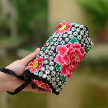 Chinese Style Embroidery Three-Layer Zipper Wallet Hand Bag Purse For 5.5 inch or Less Smartphone
