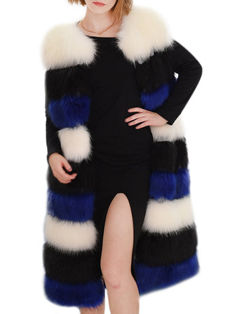 Casual Women Sleeveless Color Block Warm Faux Fur Coat