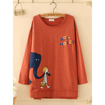 Women Letter Cartoon Print O-neck Long Sleeve Casual T-shirts