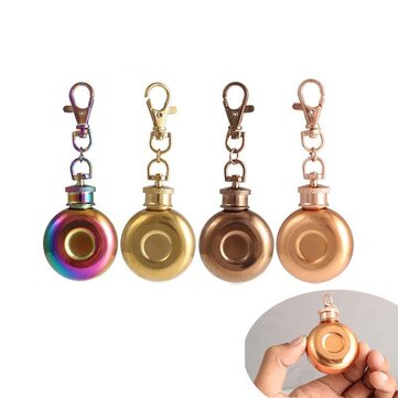 1oz 28ml Mini Stainless Steel Round Hip Flask With Keychain Liquor Alcohol Whiskey Wine Pot Small Flasks Drinkware