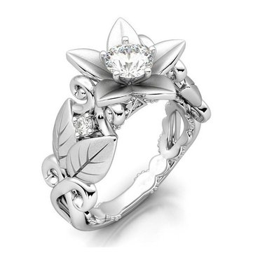 Elegant Platinum Plated Inlaid Flower Leaf Hollow Women Ring