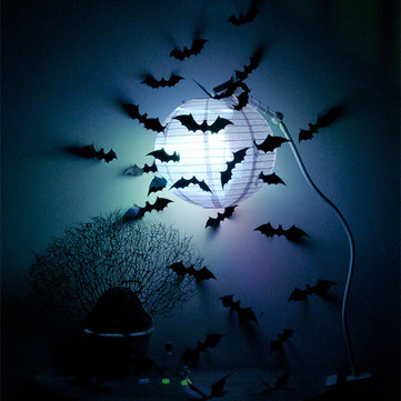 12Pcs 3D Bat Sticker Glossy Cool Wall Decals Decorative Home Room Window Tree Light Decor
