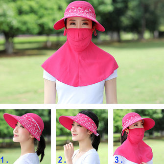 Women Summer Wide Birm Face Mask Neck Sunscreen Sun Hat