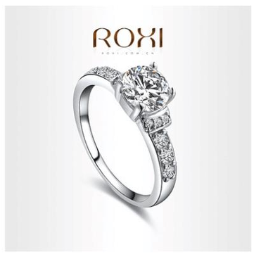 ROXI 18k White Gold Plated Platinum Wedding Hand-crafte Ring
