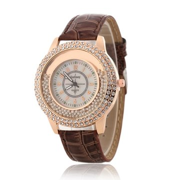 Fashion Ladies Dress Colorful Leather Band Crystal Women Quartz Watch