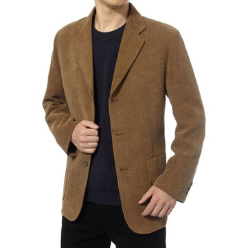 Mens Business Corduroy Casual Suit Blazers
