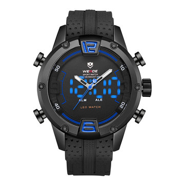WEIDE WH7301 Dual Display Digital Watch Comfortable Silicone Strap LED Alarm Calendar Sport Watch