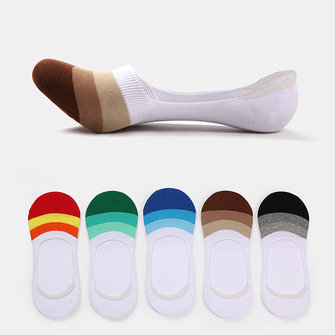 Mens Ankle Invisible Boat Socks Silicon Anti-Slip Spell Color Stripe Casual Socks