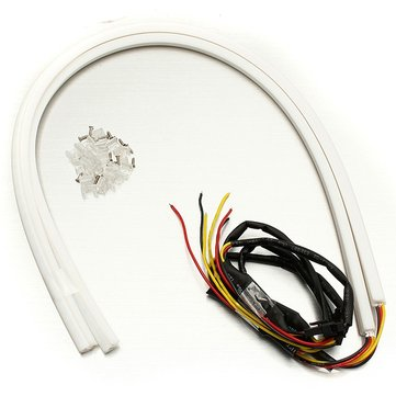 2pcs 60cm White&Amber LED Strip Light DRL 12V