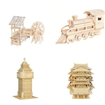 DIY 3D Dimensional Puzzles Wooden Building Model de voiture Learning Toys For Kids child Gift