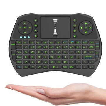 I9 2.4GHz Wireless Green Color Backlit Keyboard With Mouse & Touch Pad For Windows Android Devices
