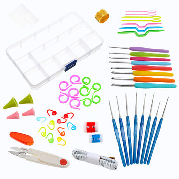 53Pcs Crochet Hooks Set Yarn Knitting Needles Sewing Tools DIY Craft Grip Handles Kit Box