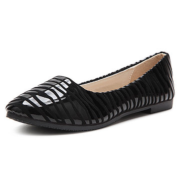 Women Casual Leather Shoes Striped Flats Slip On Pointed Leather Loafers