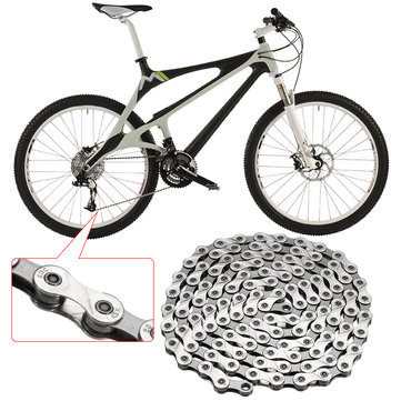 BIKIGHT Silver Steel MTB Chain 9 Speed Mountain Bike Chain 116 links for Shimano Sram
