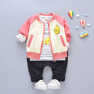 Duck Boys Girls Clothing Sets Coat + T-shirt + Pants