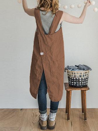 Vintage Women Solid Pockets Linen Cotton Dress