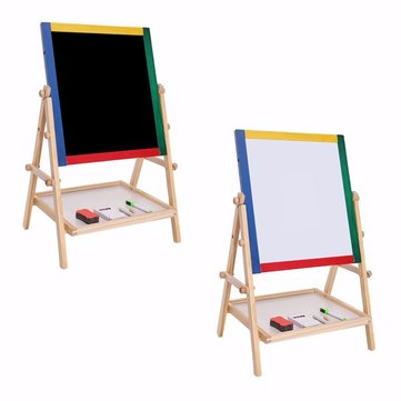 Adjustable Children 2 In 1 Black / White Wooden Easel Chalk Drawing Board