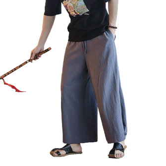 Men's Chinese Style Cotton Linen Buckle Pants